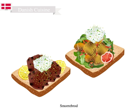 danish flag: Danish Cuisine, Illustration of Smorrebrod or Traditional Buttered Rye Bread or Dark Rye Bread Topped with Roast Pork and Tartar Sauce. The National Dish of Denmark.