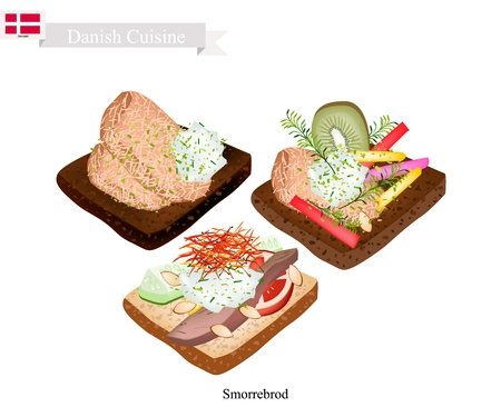 Danish Cuisine, Illustration of Smorrebrod or Traditional Buttered Rye Bread or Dark Rye Bread Topped with Roast Pork, Tartar Sauce, Fresh Fruit and Vegetable. The National Dish of Denmark. 向量圖像