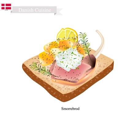 Cuisine danoise, illustration de Smorrebrod ou pain de seigle beurré traditionnel ou pain de seigle foncé recouvert d'agneau rôti, de sauce tartare et d'aneth. Le plat national du Danemark. Banque d'images - 83361579