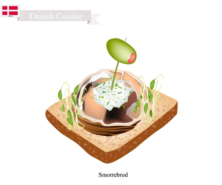danish flag: Danish Cuisine, Smorrebrod or Traditional Buttered Rye Bread or Dark Rye Bread Topped with Spiced Meat Roll, Tartar Sauce, Garden Cress Sprouts and Pickled Olive. The National Dish of Denmark. Illustration