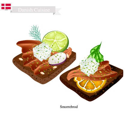 Danish Cuisine, Illustration of Smorrebrod or Traditional Buttered Rye Bread or Dark Rye Bread Topped with Smoked Eel and Sliced Radishes or Chopped Chives. The National Dish of Denmark. Illustration