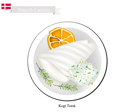Danish Cuisine, Illustration of Kogt Torsk or Traditional Boiled Cod Fillet Served with Parsley Sauce. One of The Most Famous Dish in Denmark.