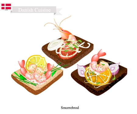 Danish Cuisine, Illustration of Smorrebrod or Traditional Buttered Rye Bread or Dark Rye Bread Topped with Shrimp and Slice of Lemon and Fresh Dill. The National Dish of Denmark. Illustration