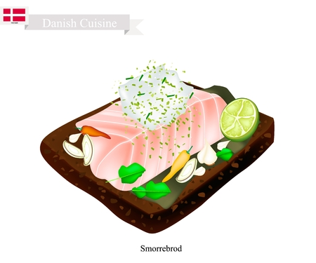 Danish Cuisine, Illustration of Smorrebrod or Traditional Buttered Rye Bread or Dark Rye Bread Topped with Steamed White Fish and Tartar Sauce. The National Dish of Denmark. Illustration
