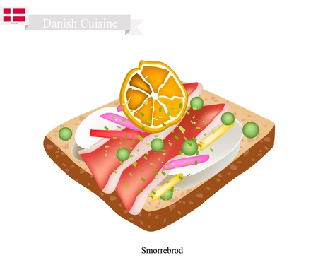 Danish Cuisine, Illustration of Smorrebrod or Traditional Buttered Rye Bread or Dark Rye Bread Topped with Roast Pork, Snow Peas and Slice Lemon. The National Dish of Denmark.