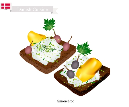 danish flag: Danish Cuisine, Illustration of Smorrebrod or Traditional Buttered Rye Bread or Dark Rye Bread Topped with Roast Chicken, Fresh Dill, Pickled Olive and Tartar Sauce. The National Dish of Denmark.