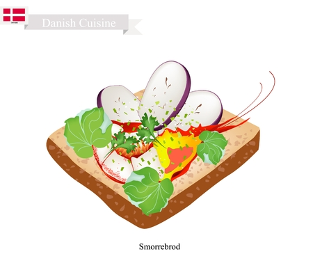 danish flag: Danish Cuisine, Illustration of Smorrebrod or Traditional Buttered Rye Bread or Dark Rye Bread Topped with Shrimp and Slice Eggplant and Herbs. The National Dish of Denmark.