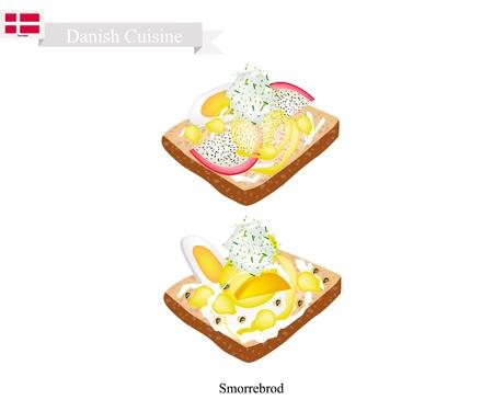 danish flag: Danish Cuisine, Illustration of Smorrebrod or Traditional Buttered Rye Bread or Dark Rye Bread Topped with Boil Egg, Fresh Fruit and Tartar Sauce. The National Dish of Denmark.