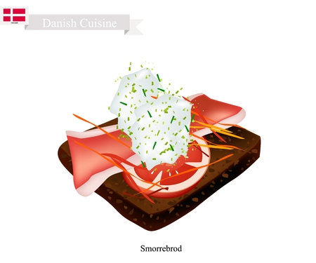 Danish Cuisine, Illustration of Smorrebrod or Traditional Buttered Rye Bread or Dark Rye Bread Topped with Roast Pork, Tartar Sauce and Slice Tomato. The National Dish of Denmark. Illustration