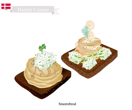 Danish Cuisine, Smorrebrod or Traditional Buttered Rye Bread or Dark Rye Bread Topped with Spiced Meat Roll and Tartar Sauce. The National Dish of Denmark.