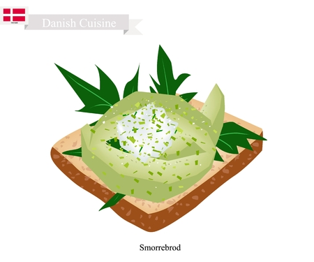 danish flag: Danish Cuisine, Illustration of Smorrebrod or Traditional Buttered Rye Bread or Dark Rye Bread Topped with Sliced Avocado. The National Dish of Denmark.