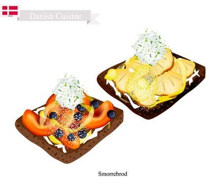 danish flag: Danish Cuisine, Illustration of Smorrebrod or Traditional Buttered Rye Bread or Dark Rye Bread Topped with Peach and Pineapple. The National Dish of Denmark.
