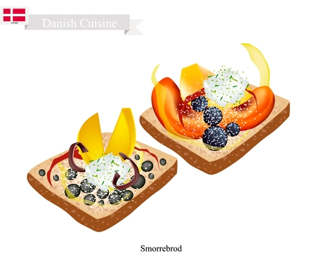 Danish Cuisine, Illustration of Smorrebrod or Traditional Buttered Rye Bread or Dark Rye Bread Topped with Fresh Fruit. The National Dish of Denmark. Illustration