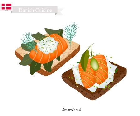 Danish Cuisine, Illustration of Smorrebrod or Traditional Buttered Rye Bread or Dark Rye Bread Topped with Smoked Salmon, Fresh Dill, Pickled Olive and Tartar. The National Dish of Denmark.