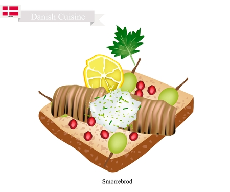 Danish Cuisine, Smorrebrod or Traditional Buttered Rye Bread or Dark Rye Bread Topped with Spiced Meat Roll, Tartar Sauce, Garden Cress Sprouts and Pickled Olive. The National Dish of Denmark. Illustration