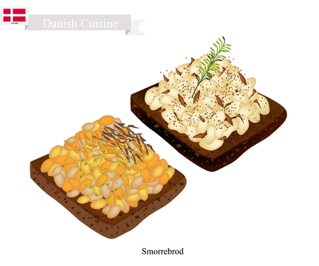 Danish Cuisine, Illustration of Smorrebrod or Traditional Buttered Rye Bread or Dark Rye Bread Topped with White Bean Sauce and Fresh Dill. The National Dish of Denmark. Illustration