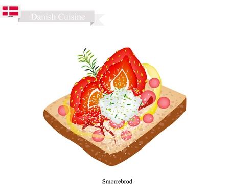デンマーク料理、イラスト Smorrebrod または伝統的なバターのライ麦パンや暗いライ麦パン新鮮なイチゴとチーズをトッピングします。デンマークの国民の皿。