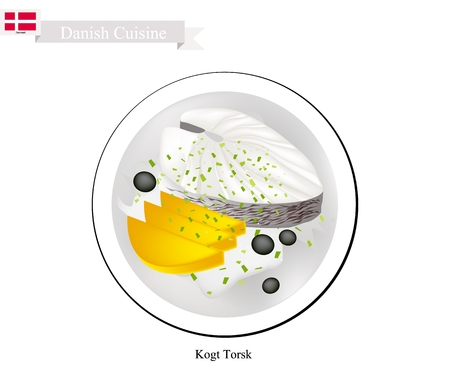 Danish Cuisine, Illustration of Kogt Torsk or Traditional Poached Cod Fillet Served with Parsley Sauce and Boiled Potatoes. One of The Most Famous Dish in Denmark. Illustration