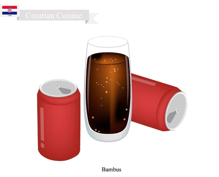 Croatian Cuisine, Bambus or Mixed Cocktail Made with Equal Parts Red Wine and Cola. One of Most Famous Drink in Greece. Illustration
