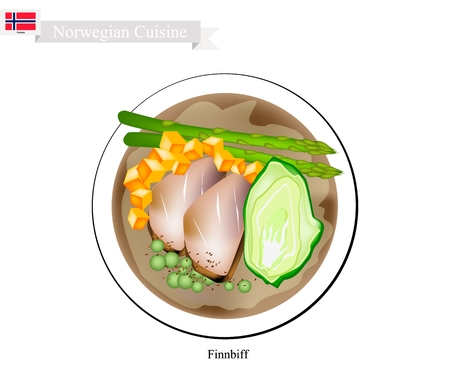 Norwegian Cuisine, Illustration of Finnbiff or Traditional Sauteed Reindeer Venison Steak Served with Boiled Potatoes and Vegetables. One of The Most Famous Dish of Norway.