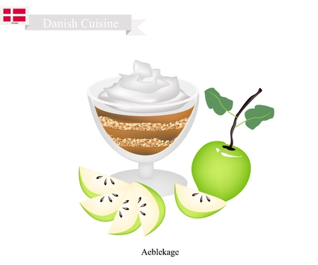 Danish Cuisine, Aeblekage or Traditional Apple Cake Made of Stewed Apple and Cookie Crumbs or Bread Crumbs and Crushed Makroner Topped with Whipped Cream. One of The Most Popular Dessert in Denmark. Illusztráció