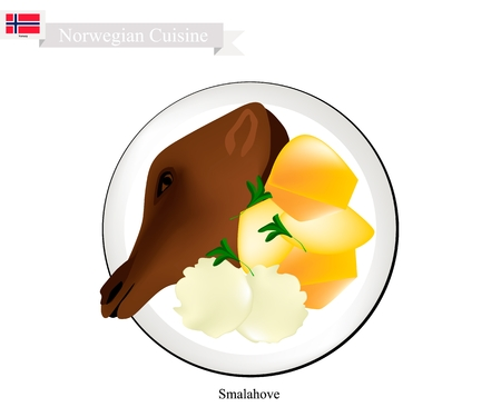 Norwegian Cuisine, Illustration of Smalahove, Smalehovud, Skjelte or Traditional Grilled Sheeps Head Served with Potatoes Boiled Usually Eaten Before Christmas. A Native Dish of Norway.
