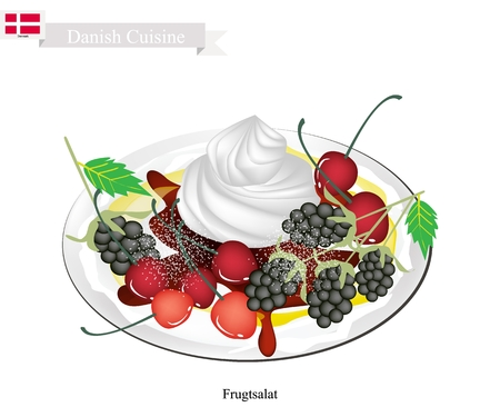 danish flag: Danish Cuisine, Frugtsalat or Traditional Fruit Salad Topped with Vanilla Cream or Whipped Cream and Grated Chocolate. One of The Most Famous Dessert in Denmark. Illustration