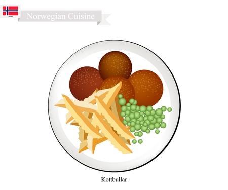 노르웨이 요리, Kottbullar 또는 프렌치 프라이와 함께 제공되는 전통 미트볼. 노르웨이에서 가장 유명한 요리 중 하나입니다. 일러스트