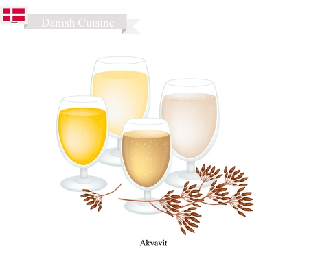 Danish Cuisine, Akvavit or Aquavit or Traditional Liquor Aromatic Flavourings with Caraway or Cumin Seed, Lemon or Orange peel, Cardamom, Aniseed and Fennel. One of Most Famous Drink in Denmark. Illustration
