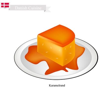 danish flag: Danish Cuisine, Karamelrand or Traditional Creme Caramel, Caramel Custard or Custard Pudding. One of The Most Famous Dessert in Denmark. Illustration