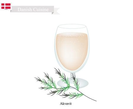 Dänische Küche, Akvavit oder Aquavit oder Traditional Liquor Aromatische Aromastoffe mit Kümmel oder Kreuzkümmel, Zitrone oder Orangenschale, Kardamom, Anis und Fenchel. Eines der berühmtesten Drink in Dänemark. Standard-Bild - 84012138