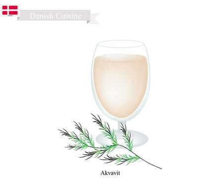 Danish Cuisine, Akvavit or Aquavit or Traditional Liquor Aromatic Flavourings with Caraway or Cumin Seed, Lemon or Orange peel, Cardamom, Aniseed and Fennel. One of Most Famous Drink in Denmark. Ilustração