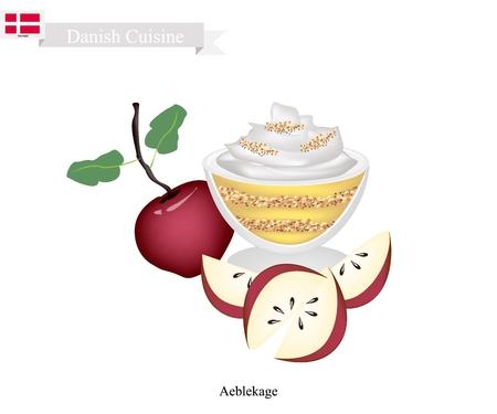 デンマーク料理、Aeblekage または伝統的なりんごのケーキ パン粉やクッキーのくず煮リンゴ作られ、粉砕 Makroner ホイップ クリームをトッピングします。デンマークで最も人気のあるデザートの 1 つ。