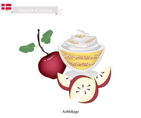 Danish Cuisine, Aeblekage or Traditional Apple Cake Made of Stewed Apple and Cookie Crumbs or Bread Crumbs and Crushed Makroner Topped with Whipped Cream. One of The Most Popular Dessert in Denmark. Illustration