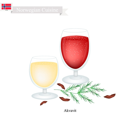 Norwegian Cuisine, Akvavit or Aquavit or Traditional Liquor Aromatic Flavourings with Caraway or Cumin Seed, Lemon or Orange peel, Cardamom, Aniseed and Fennel. One of Most Famous Drink in Norway.