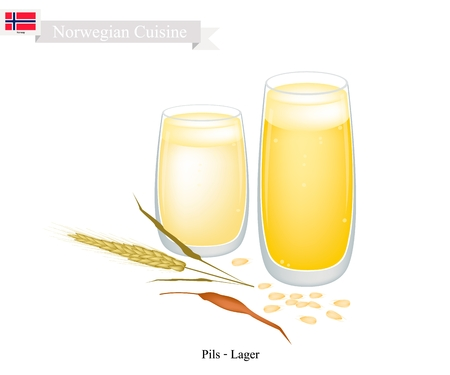 Norwegian Cuisine, Pils and Lager Are Traditional Alcoholic Beverage. One of The Most Popular Drink in Norway.