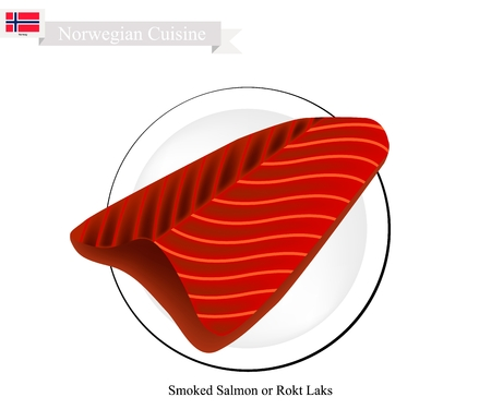 Norwegian Cuisine, Rokt Laks or Traditional Smoked Salmon. One of The Most Famous Food in Norway.