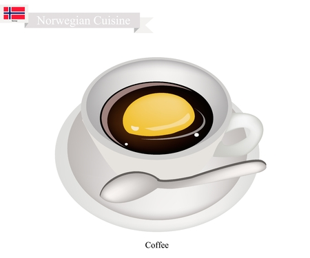 most popular: Norwegian Cuisine, Hot Coffee Is One of The Most Popular Beverage in Norway. Illustration