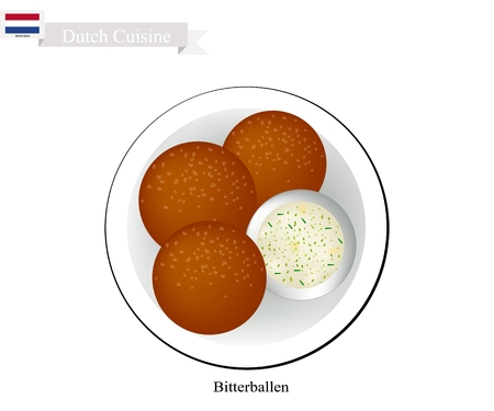 Dutch Cuisine, Bitterballen or Traditional Meatballs. Ilustração