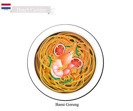 Hollandse Keuken, Bami Goreng of Traditionele Gebakken Noodles Met Garnalen.