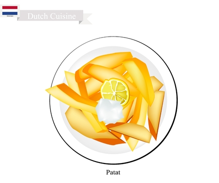 cheez: Dutch Cuisine, Patat or Traditional French Fries Served with Cream Cheese. Illustration
