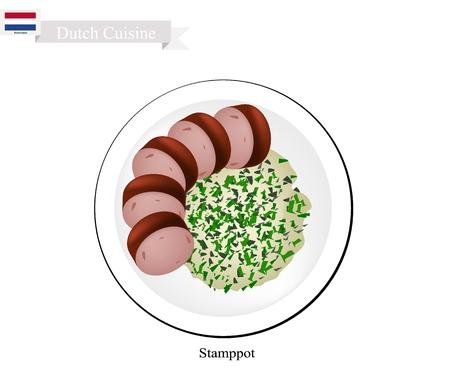 Hollandse Keuken, Illustratie Van Traditionele Stamppot Of Mashed Aardappels En Kale Geserveerd Met Rookworst Of Gerookte Worst. Stockfoto - 85904046