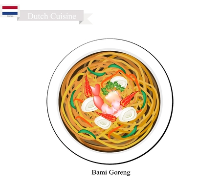 Dutch Cuisine, Bami Goreng or Traditional Fried Noodles with Prawn. Stock Vector - 85904049