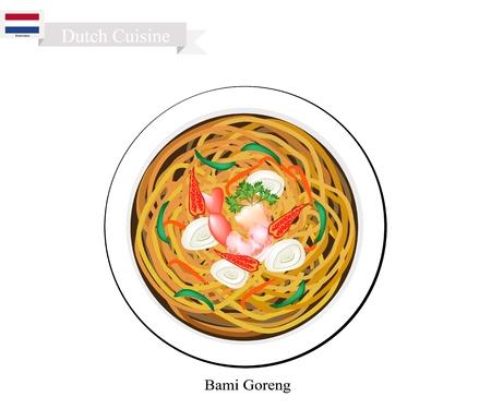 Hollandse Keuken, Bami Goreng of Traditionele Gebakken Noodles Met Garnalen. Stock Illustratie