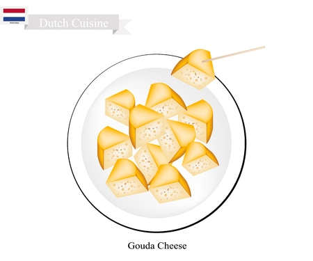 cheez: Dutch Cuisine, Gouda Cheese or Traditional Cheese Made of Milk with Fat, Protein, Riboflavin or B2, Vitamin B12 and Vitamin A, Essential Nutrient for Life. One of The Most Famous Dish of Netherlands.