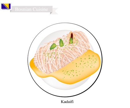 Kadaifi or Traditional Levantine Cheese Pastry Illustration