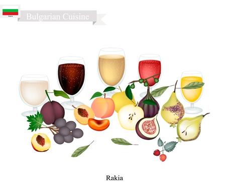 Bulgarische Küche, Rakia oder traditioneller alkoholischer Obstbrand. Einer der beliebtesten Drinks in Bulgarien. Standard-Bild - 88073356