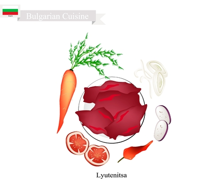 Bulgarian Cuisine, Illustration of Lyutenitsa or Traditional Spread Sauce Made of Peppers, Carrots, Eggplant, Onion, Garlic, Oil, Sugar, Salt and Tomatoes. One of The Most Famous Dish in Bulgaria.