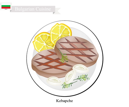 Bulgarian Cuisine, Illustration of Kebapche or Traditional Roasted Meat Patties Steak of Pork, Beef and Lamb. One of The Most Famous Dish in Bulgaria. Vettoriali