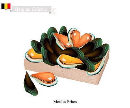 ベルギー料理、イラスト仲良くフリットまたは伝統的な蒸しムール貝。